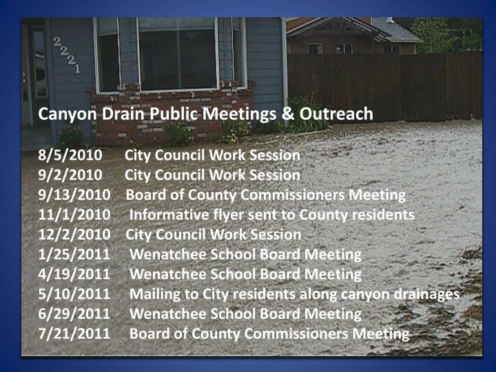 Canyon Drain Public Meetings & Outreach