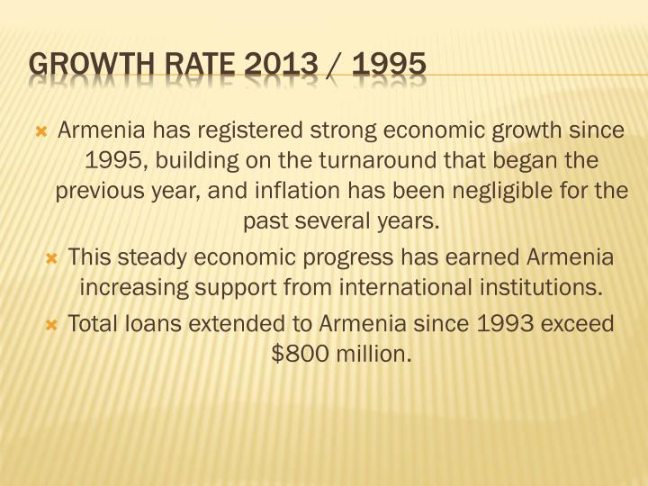 Armenia has registered strong economic growth since 1995, building on the turnaround that began the previous year, and inflation has been negligible for the past several years.