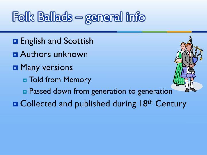 Folk Ballads – general info
