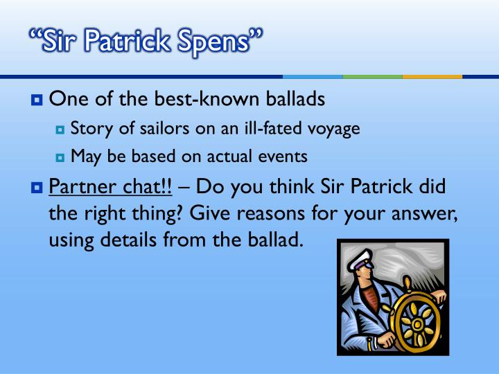 """Sir Patrick Spens"""