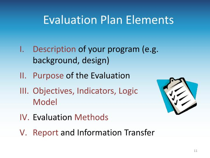 Evaluation Plan Elements
