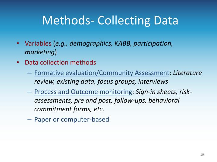Methods- Collecting Data