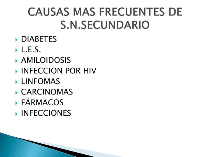 CAUSAS MAS FRECUENTES DE S.N.SECUNDARIO