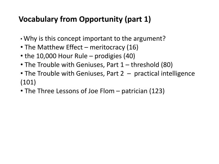 Vocabulary from Opportunity (part 1)