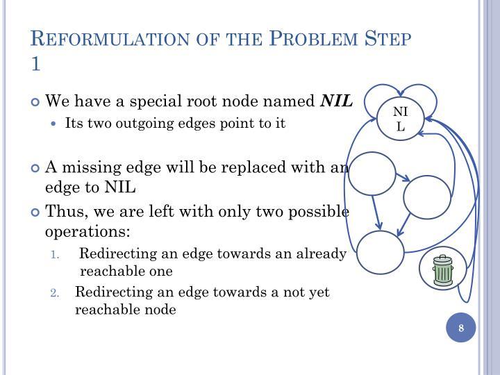 Reformulation of the Problem Step 1