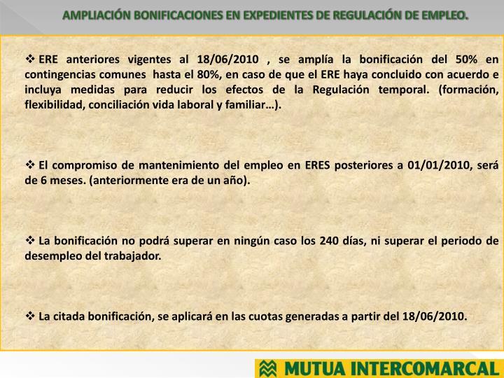 AMPLIACIÓN BONIFICACIONES EN EXPEDIENTES DE REGULACIÓN DE EMPLEO.