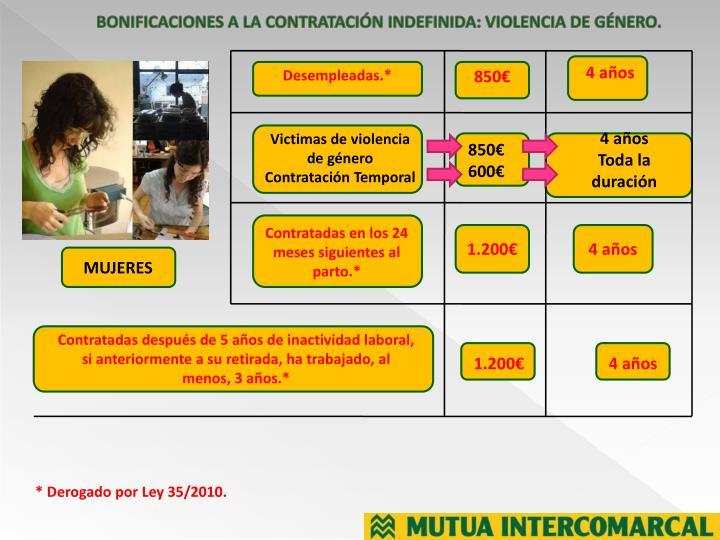 BONIFICACIONES A LA CONTRATACIÓN INDEFINIDA: VIOLENCIA DE GÉNERO.