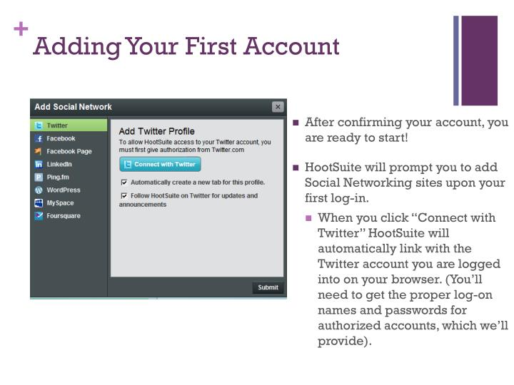 Adding Your First Account