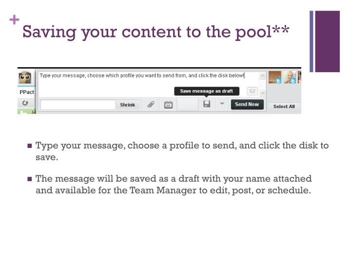 Saving your content to the pool