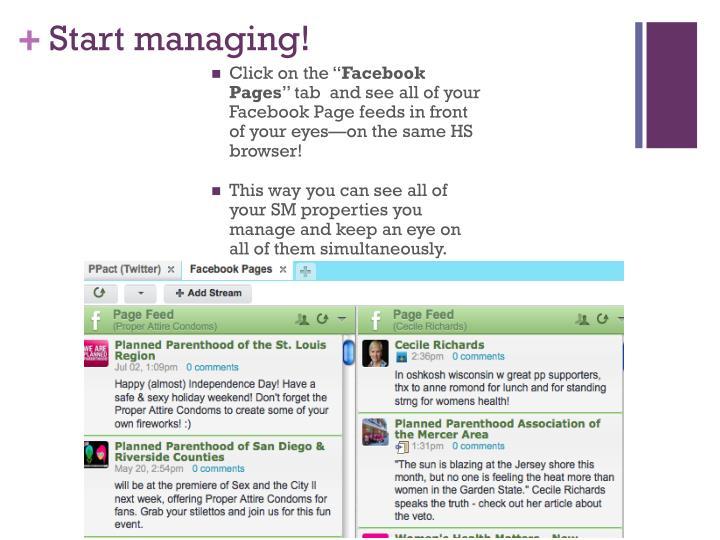 Start managing!