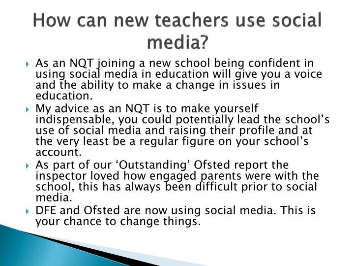 How can new teachers use social media?