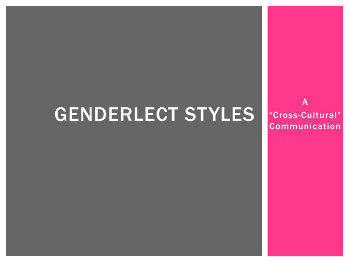 genderlect styles theory