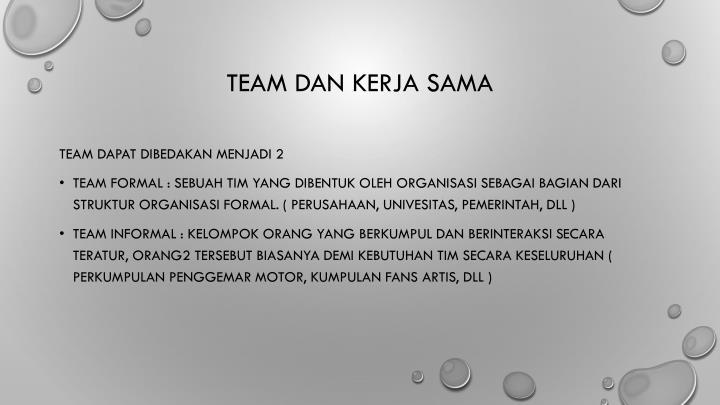 Team dan kerja sama