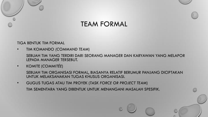 Team formal