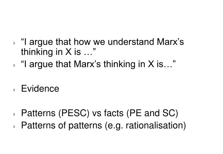 """I argue that how we understand Marx's thinking in X is …"""