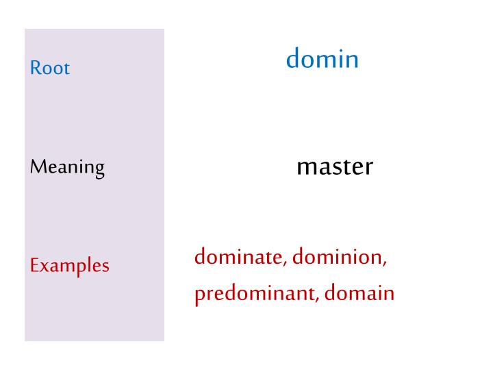 Root meaning examples