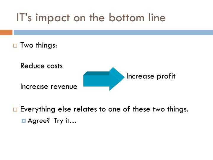 IT's impact on the bottom line