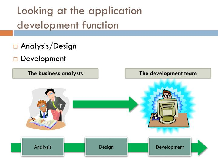 Looking at the application development function