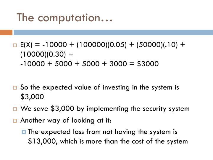 The computation…