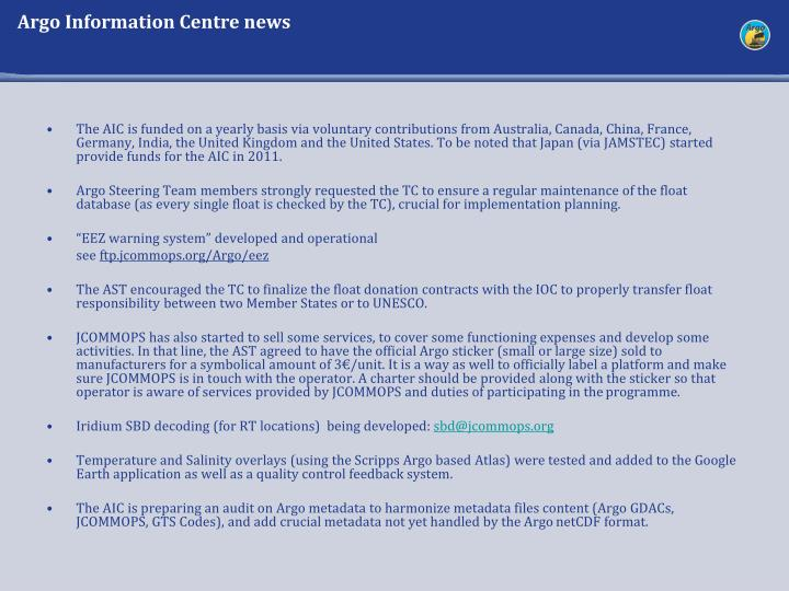 Argo Information Centre news
