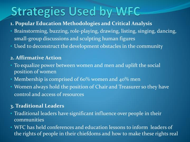 Strategies Used by WFC