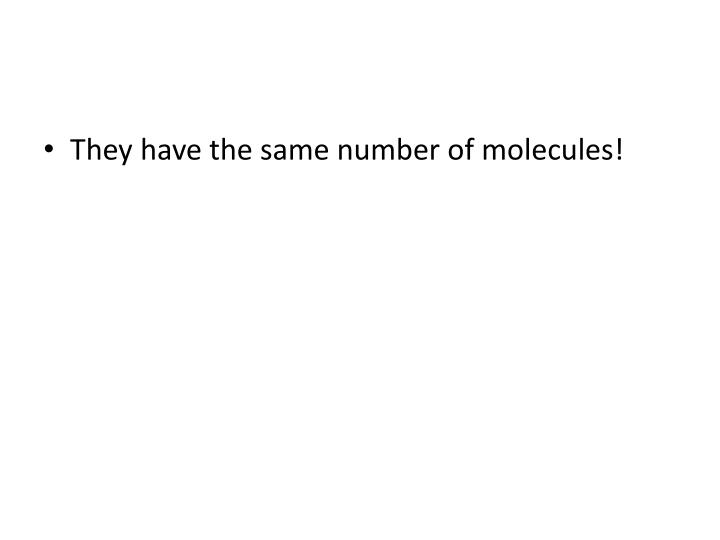 They have the same number of molecules!