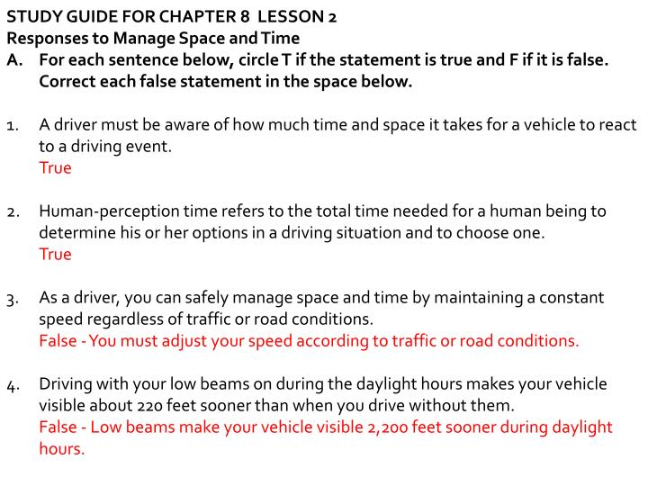 Study Guide For Student Drivers