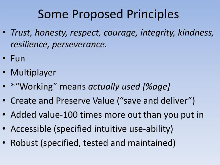 Some Proposed Principles