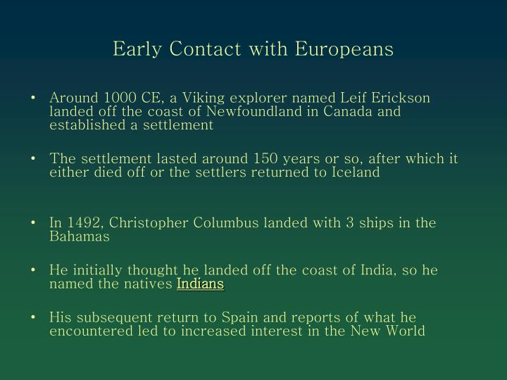 Early Contact with Europeans