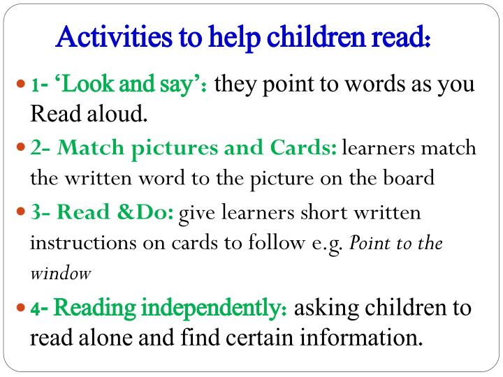 Activities to help children read: