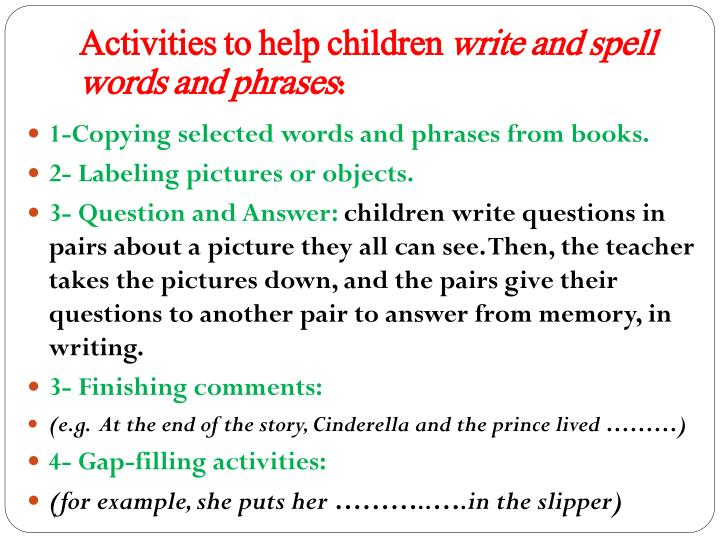 Activities to help children