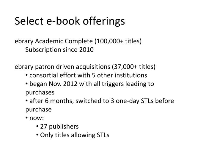 Select e-book offerings
