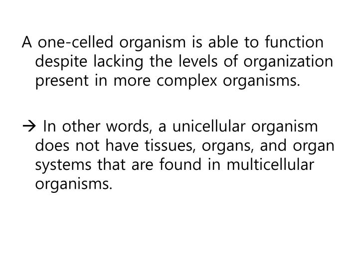 A one-celled organism is able to function despite lacking the levels of organization present in more complex organisms.
