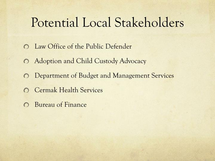 Potential Local Stakeholders