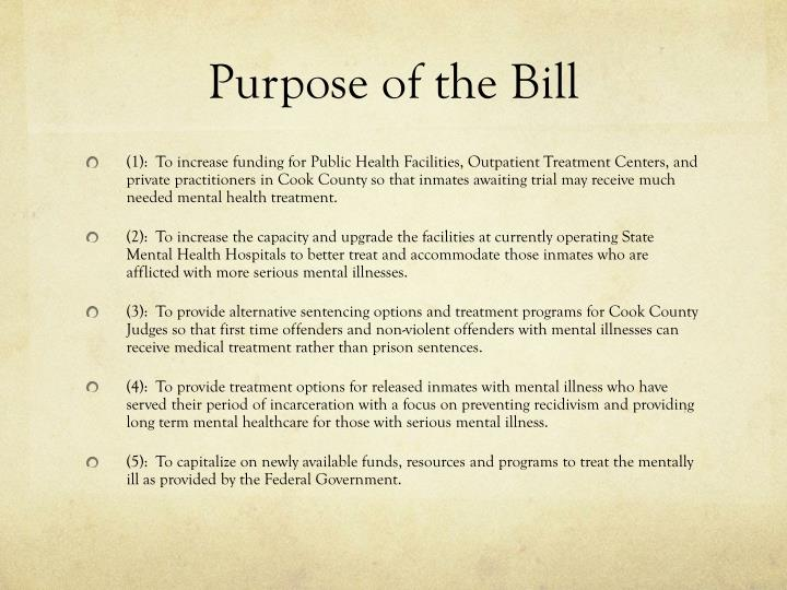 Purpose of the Bill