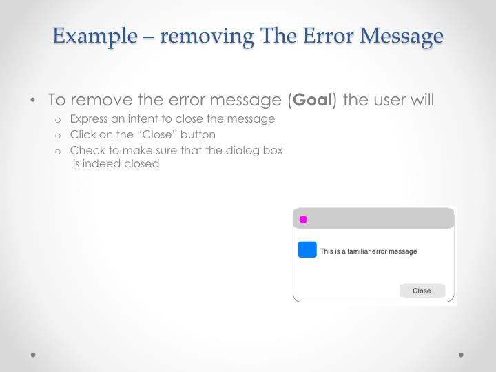 Example – removing The Error Message
