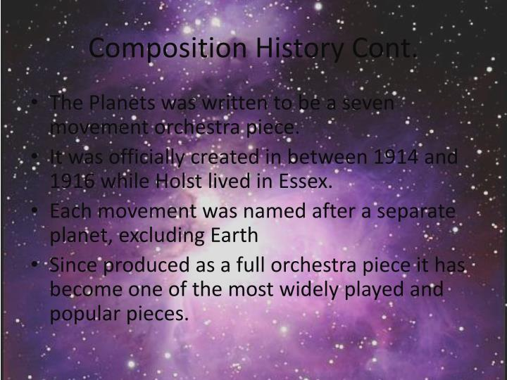 Composition History Cont.