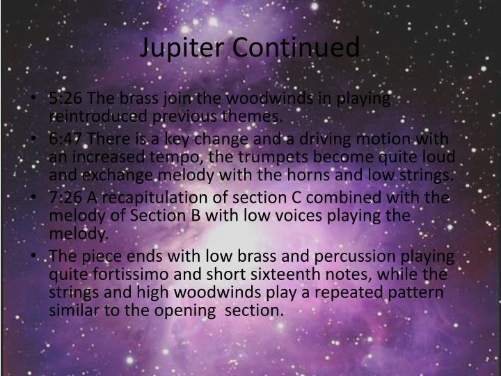Jupiter Continued