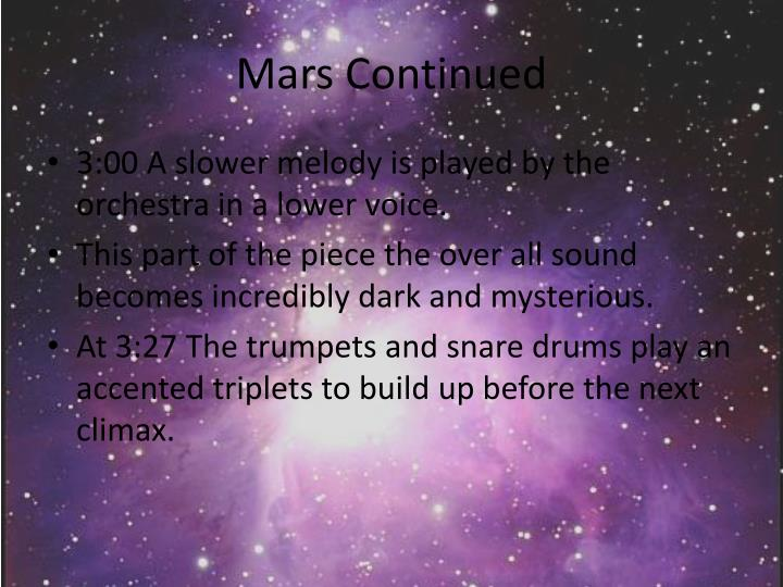 Mars Continued