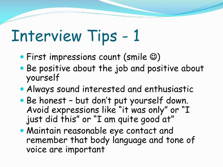 Interview Tips - 1
