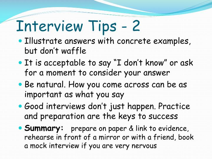 Interview Tips - 2