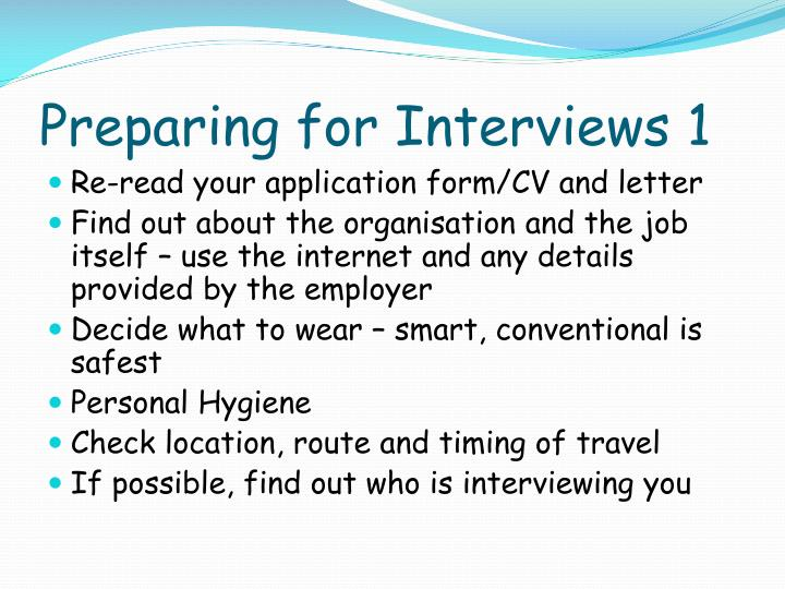 Preparing for Interviews 1