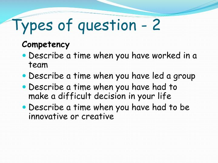 Types of question - 2