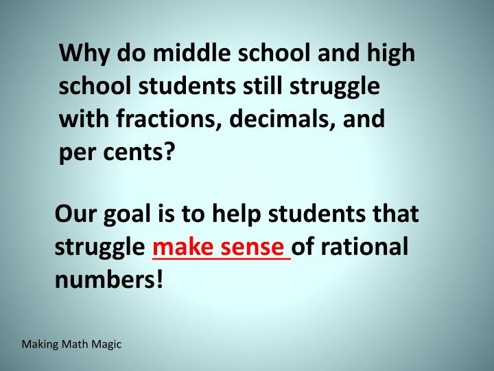 Why do middle school and high school students still struggle with fractions, decimals, and per cents?