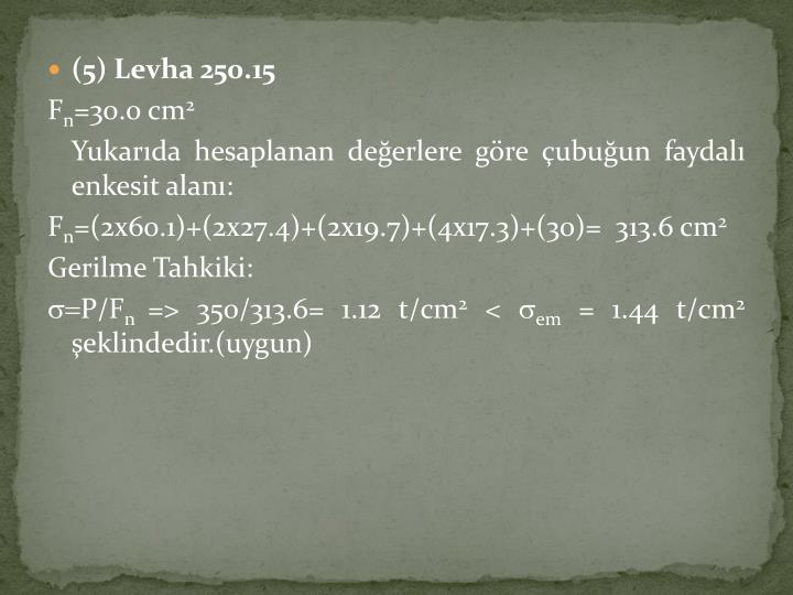 (5) Levha 250.15