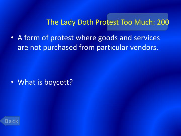 The Lady Doth Protest Too Much: 200