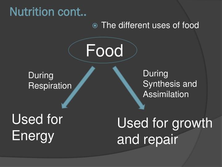 Nutrition cont..
