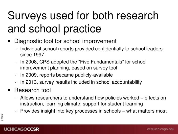 Surveys used for both research and school practice