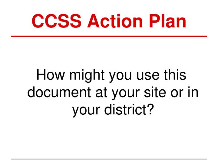 CCSS Action Plan