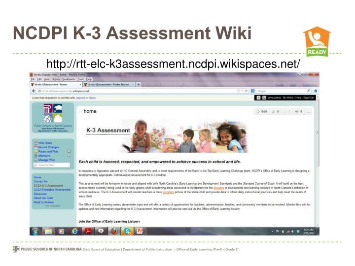 NCDPI K-3 Assessment Wiki